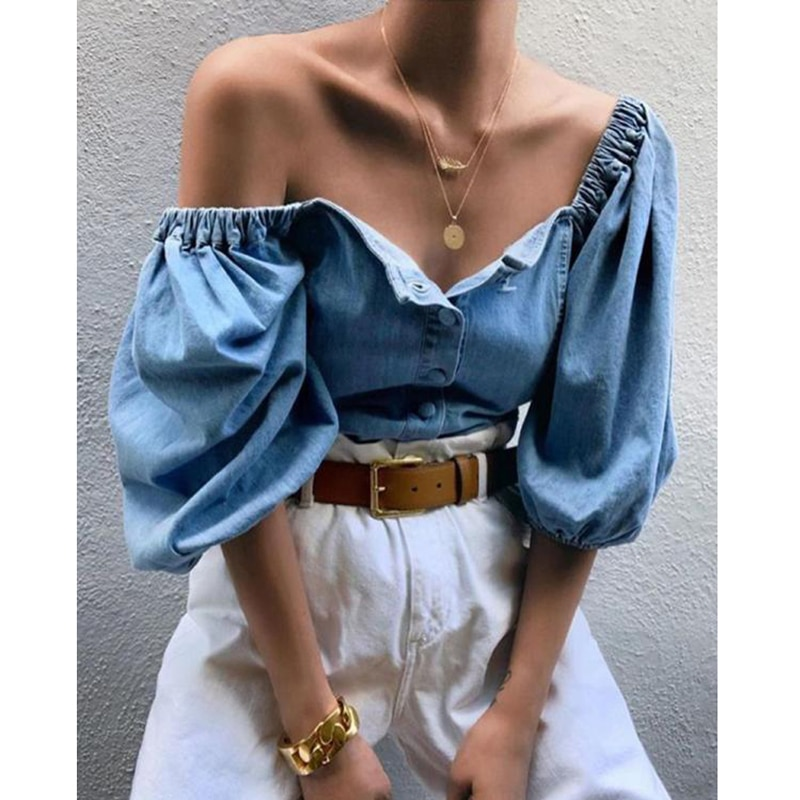 Women Blouse Summer Sexy Ladies Buttons Denim Vintage Square Collar Jeans Tops Chic Elastic Puff Sho