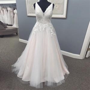 Real Photos V-neck Wedding Dresses Sleeveless Appliques White Ivory Bridal Gowns Backless Sweep Train Vestido De Casamento 2020