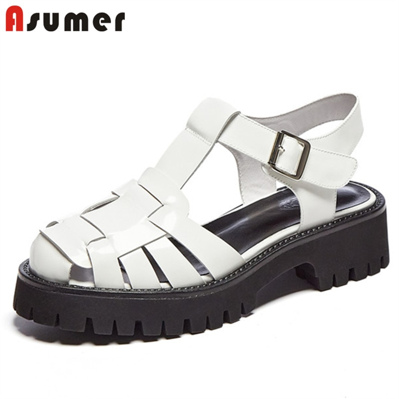 ASUMER-صندل نسائي بنعل سميك من الجلد الطبيعي ، حذاء صيفي كاجوال بإبزيم ، عتيق ، أسود ، 2021