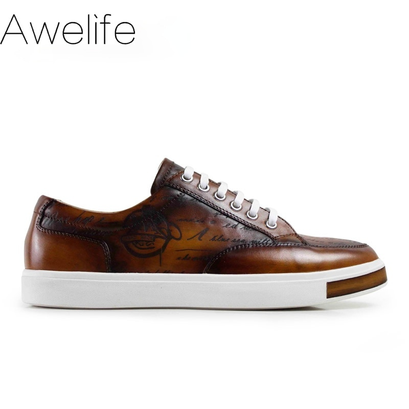 Men's Casual Shoes Genuine Leather Shoes for Adult Fashion Man Footwear 100% Handmade Men's Leisure