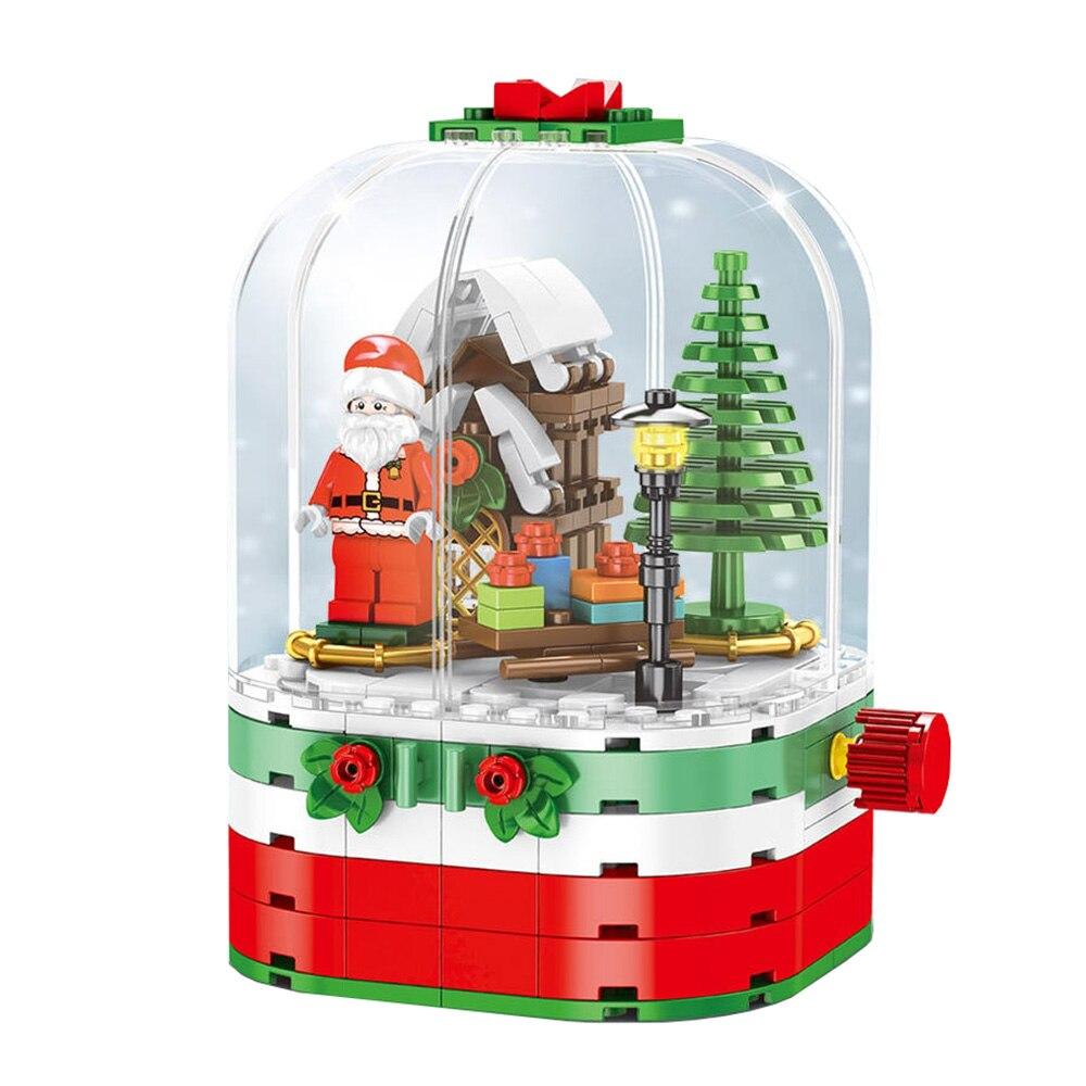 Christmas Tree Building Blocks Santa Claus Music Rotating Box Decoration Bricks Toys Model For Kids