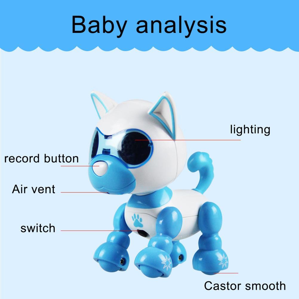 Электрический щенок робот сенсорный звук Запись светодиодный глаза интерактивные дети собаки игрушки для мальчиков девочек Интеллектуаль...