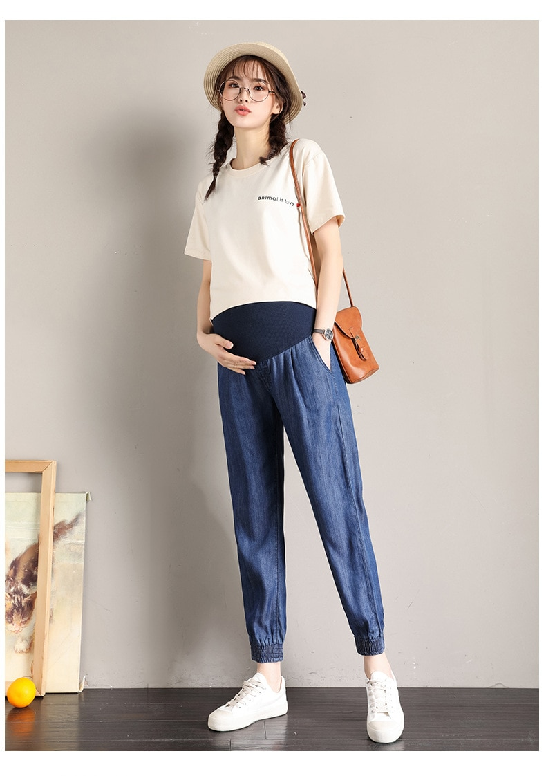 Vintgae Washed Denim Maternity Jeans for Pregnant Women Clothes Elastic Waist Belly Loose Pants Pregnancy Gravidas Clothing enlarge