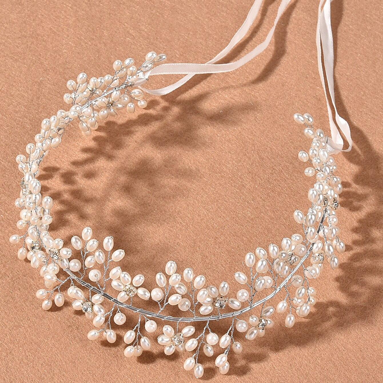 Diadema elegante para mujer, accesorios para el cabello de perlas nupciales, diademas...