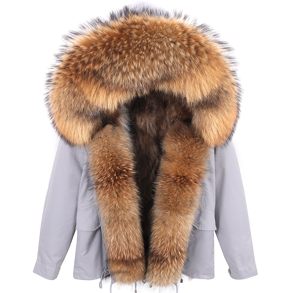 7XL مقاوم للماء باركاس الفراء الطبيعي بطانة سترة الطبيعية الراكون معطف الفرو الحقيقي معطف الشتاء سترة النساء طوق دافئ سميكة
