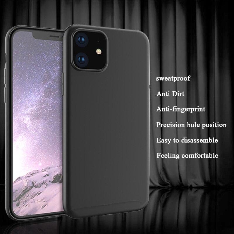 Funda de teléfono de lujo para iPhone XR XS MAX X Ultra delgada Slim para iPhone 11 2019 11 Pro Max suave carcasa trasera Coque Funda negro