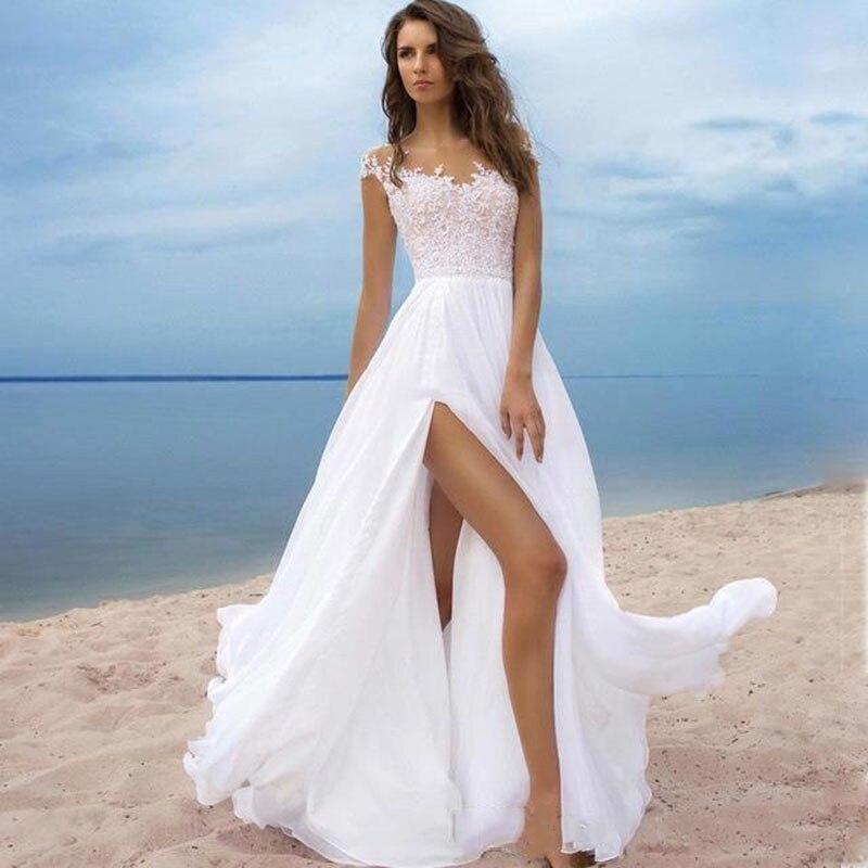 فستان زفاف بوهو مع شق ، خط a ، شيفون ، مصنوع حسب الطلب ، فستان زفاف ، شحن مجاني
