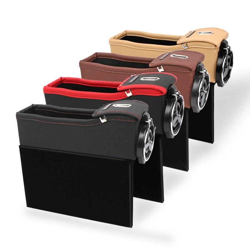 E-FOUR para hueco de asiento de coche, consola de llenado, bolsillo lateral con colector de monedas, receptor de asiento de coche, organizador de coche, Cartera de cuero PU, monedas para teléfono