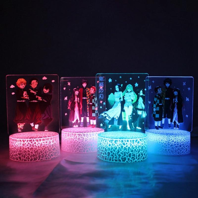 Lámpara de mesa demonio Slayer Anime luz de noche LED 3D figuras de acción cambio de Color Kamado Nezuko Tanjirou Lampara Luz de Base Visual
