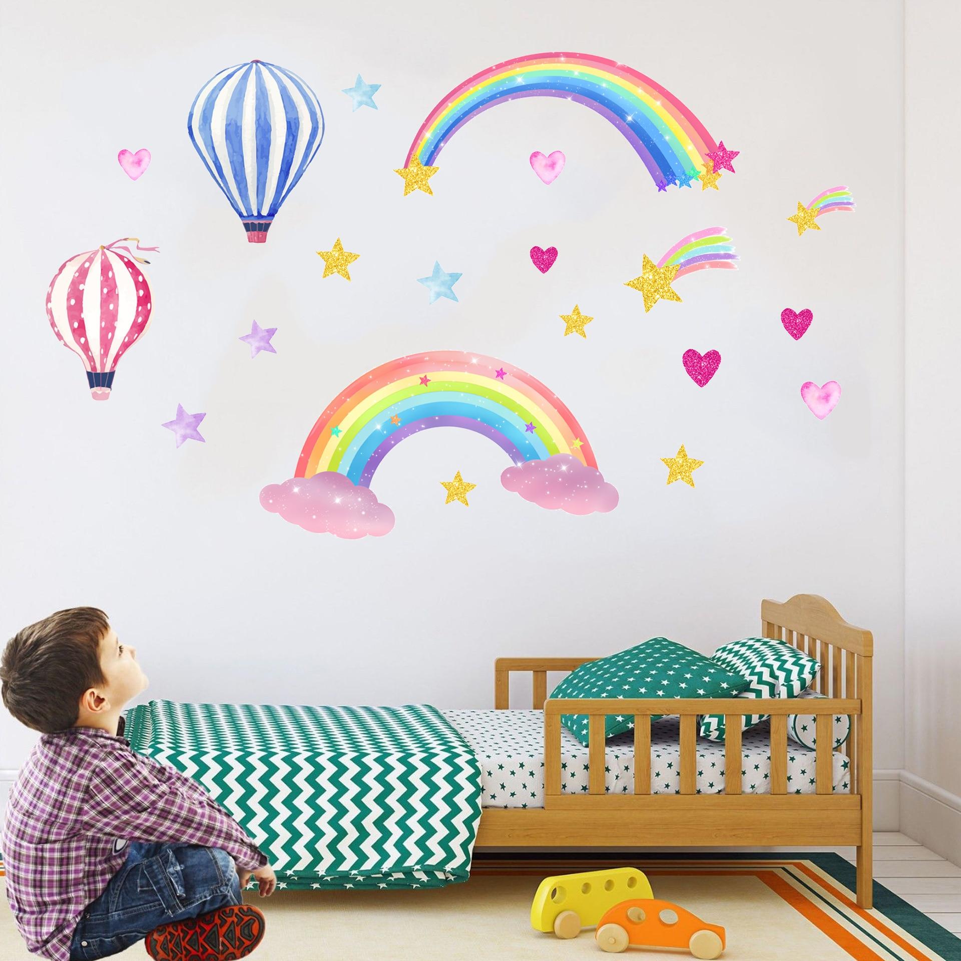 Горячий воздух воздушный шар Радуга настенные наклейки, гостиная, детская комната фон стены украшения картина с изображением из «Звездных ...