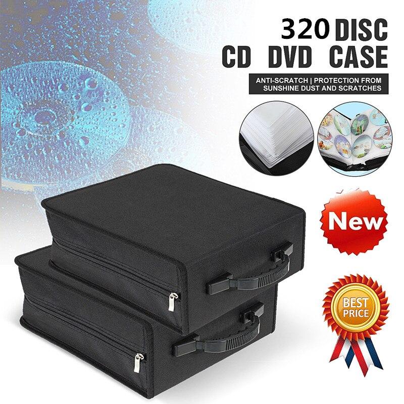 LEORY 320 Uds CD DVD discos de almacenamiento de medios cubierta llevar portátil manga bolsa dura caso titular de la cartera caja w/cremallera Universal mangas