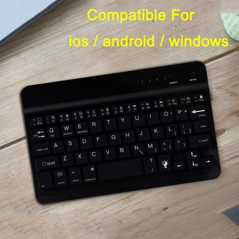 Mini blueteeth teclado do telefone móvel para ipad ios android portátil ultra fino teclado sem fio escritório 7.9 10 polegada preto branco