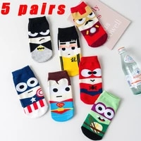 new cotton mens socks superhero cartoon boat socks personalized mens fashion socks colorful casual socks 5 pairs set