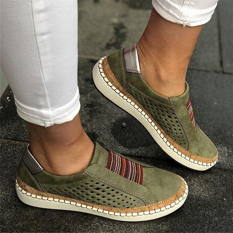 Zapatillas de deporte para mujer, zapatos vulcanizados, zapatos informales transpirables, zapatos planos de piel suaves para mujer, zapatillas planas cómodas para mujer