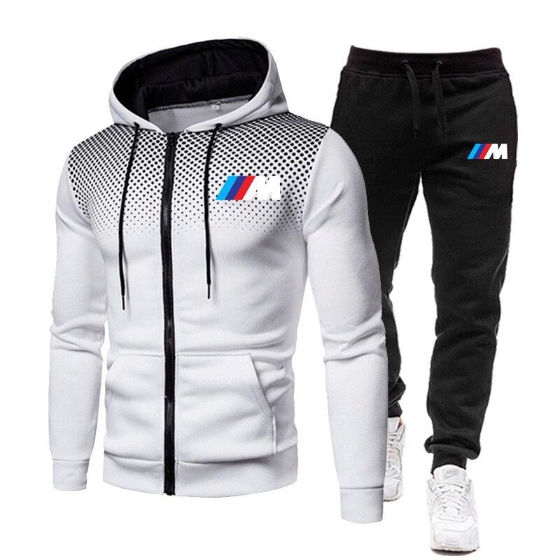 Zipper hooded sweatshirt men's fashion BMW spring casual patchwork warm hooded sweatshirt g men's jacket+men's pants casual bran