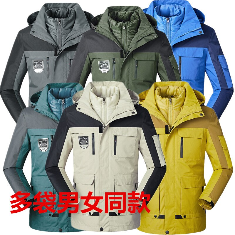 2021 Outdoor three in one stormsuit men's winter thickened couple's two-piece multi bag women's mountaineering suit