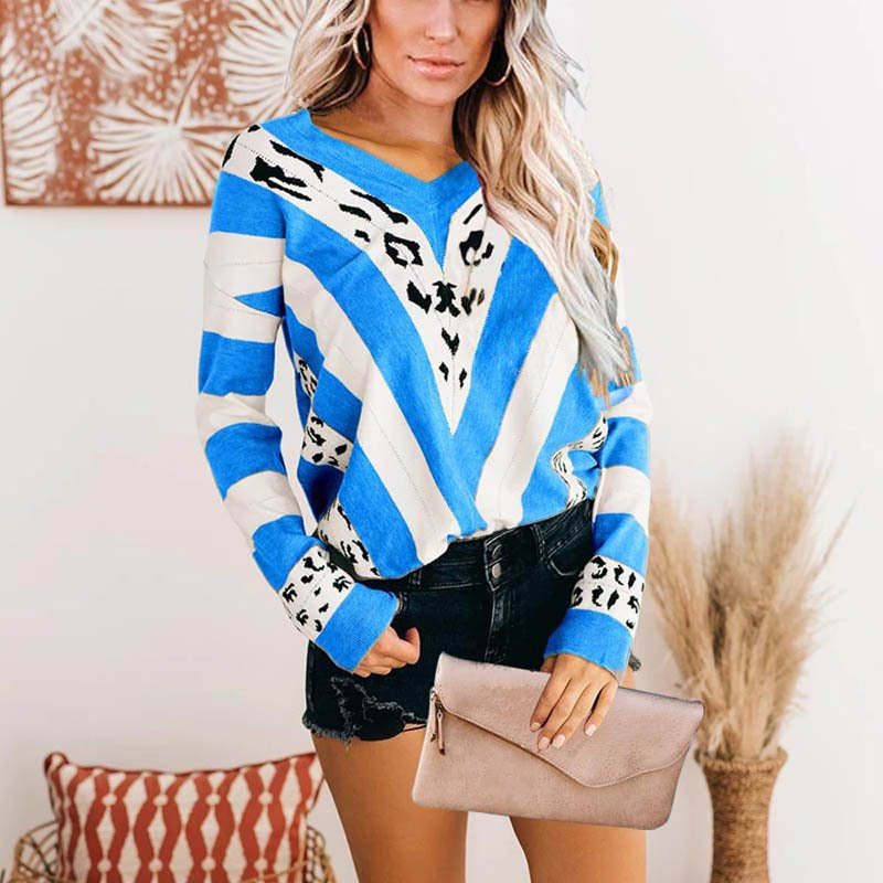 Cotton Sweaters Pullovers Spring Women Blouse Loose Knit Long Sleeve Leopard Print Tops Streetwear Shirts Plus Size 5XL enlarge