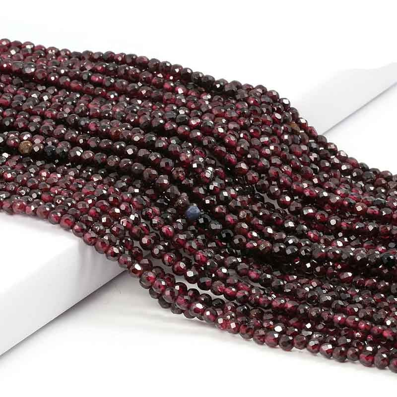 Small Beads Natural Stone Beads Garnet 2 3mm Section Loose Beads for Jewelry Making Necklace DIY Bracelet Accessories (38cm)