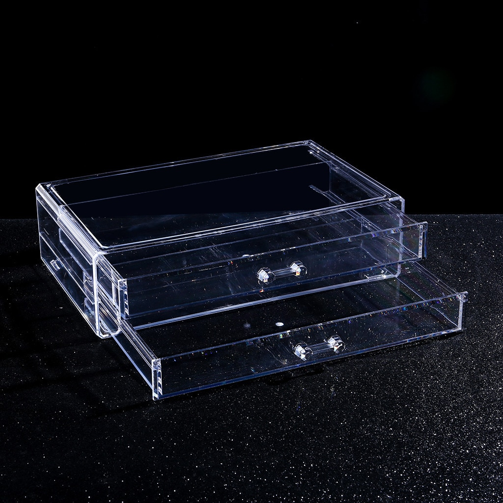 Caja de cosméticos de acrílico transparente portátil Multi-capa de almacenamiento de cosméticos...