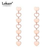 Lokaer amour coeur longues boucles doreilles pour femmes filles mode acier inoxydable Rose or gland boucles doreilles bijoux E18492