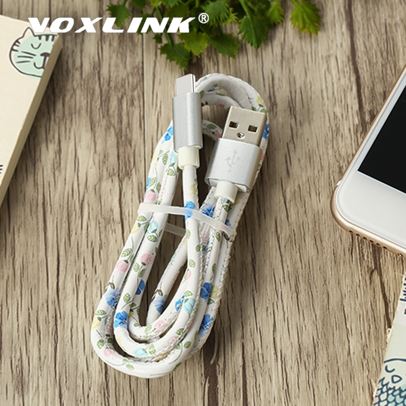 VOXLINK USB tipo C 5V2A Cable de carga rápida Cables de teléfono móvil cuero PU sincronización de datos Cable de cargador USB para Xiaomi Cables Samsung