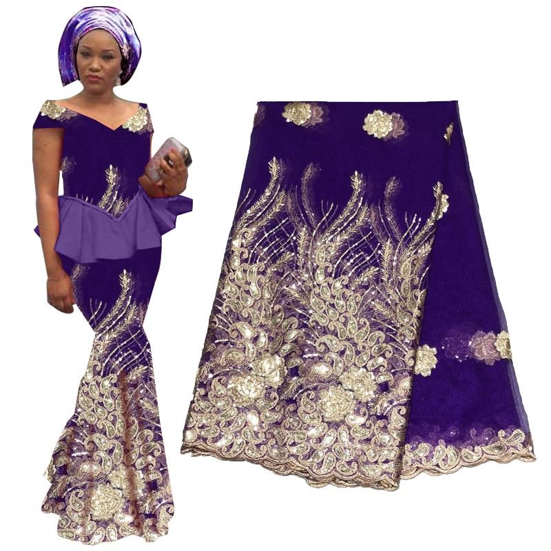 قماش دانتيل مطرز بالترتر ، قماش أزرق ملكي عالي الجودة ، أفريقي ، ذهبي ، لحفلات الزفاف ، 2019