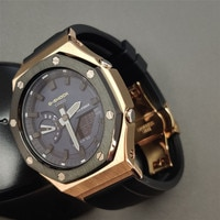 Hontao GA2100 Watch Strap Adapter Metal 2rd Bezel Fluorine Rubber Watch Band for Casio G Shock GA-2100/2110 Watch