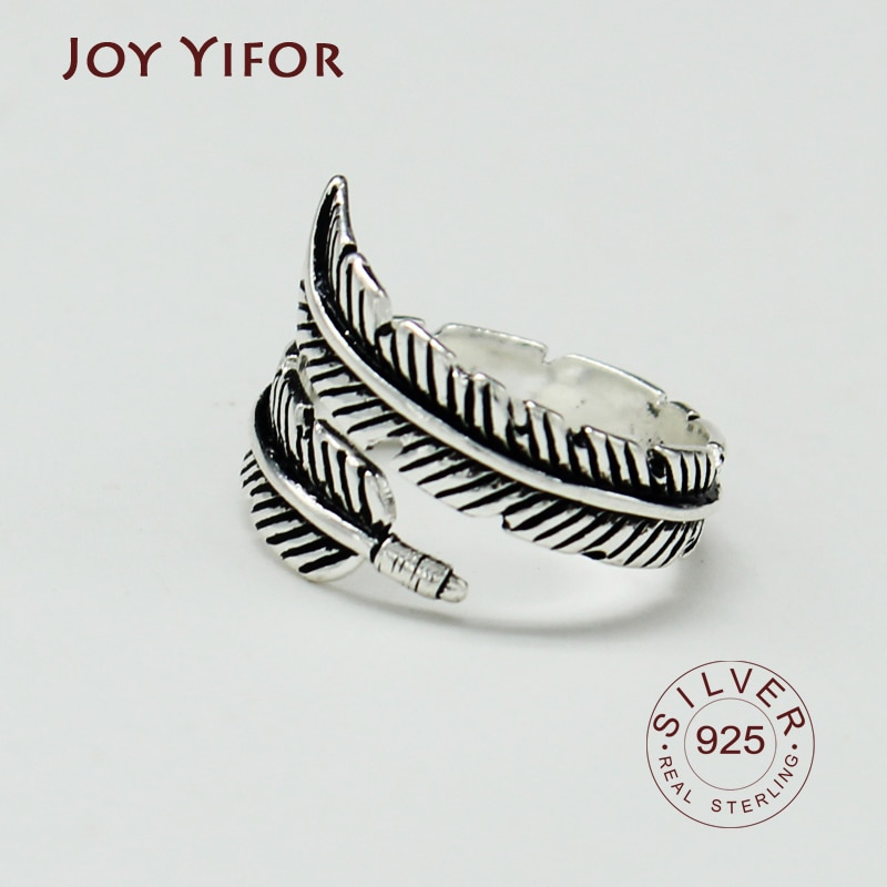 Винтажный-дизайн-925-стерлингового-серебра-Регулируемые-кольца-с-перьями-для-женщин-стерлингового-серебра-ювелирные-изделия-для-свадьбы-юв