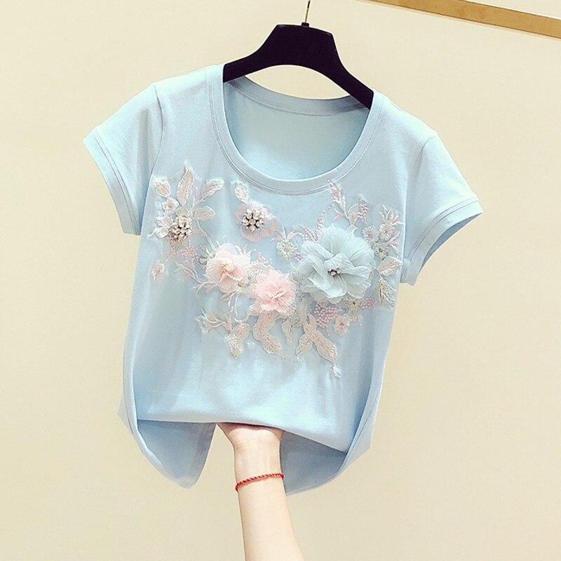 Novedad de verano primavera 2020, camiseta azul para mujer, camiseta con bordado dimensional de flores de cuello redondo, camiseta de manga corta, camiseta informal para mujer