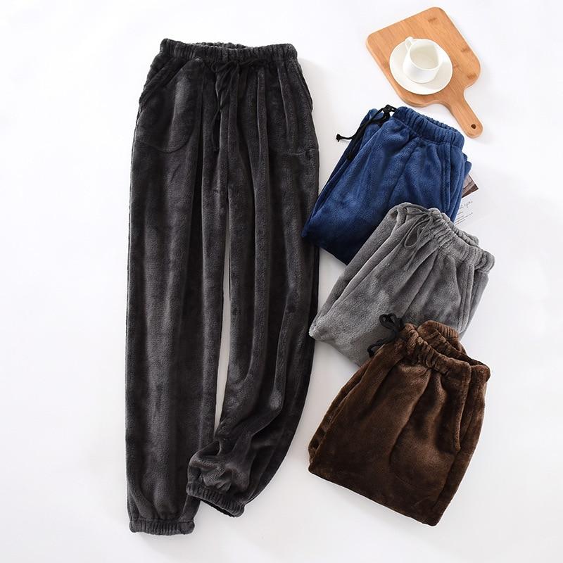 Новые мужские домашние штаны в японском стиле, плотные фланелевые теплые штаны на осень и зиму, большие размеры, коралловые флисовые брюки, ...