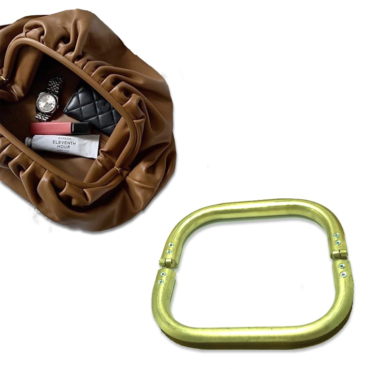 Marco de Metal de cobre rectangular para bolso de mano con asa para mujer, accesorios para bolso de bricolaje pieza de chasis 6 uds.