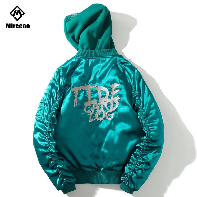 Comandante chaquetas japonés impresión Mens gruesa chaqueta Bomber MA 1-1 con capucha chaqueta piloto hombres entrenadores chaquetas Hip Hop Streetwear 2019