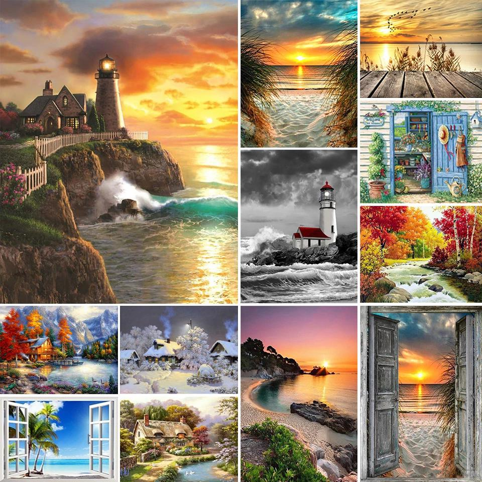 5D DIY Diamond Painting Landscape Sunset Sea Kit Full Drill Square Embroidery Mosaic Art Picture of Rhinestones Home Decor Gift