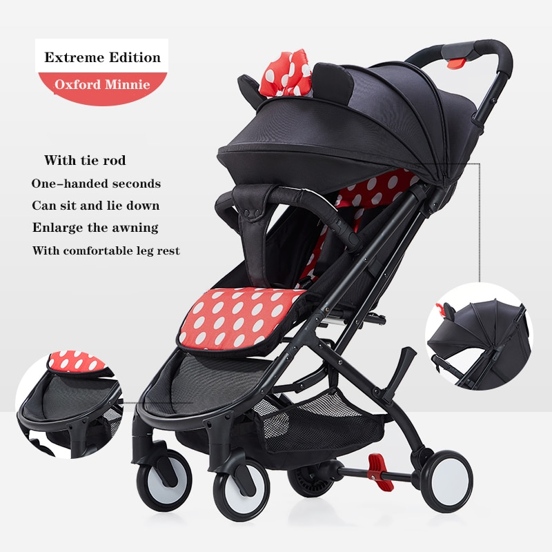 Minnie baby stroller one-key collection of portable travel stroller folding stroller high landscape aluminum frame baby stroller