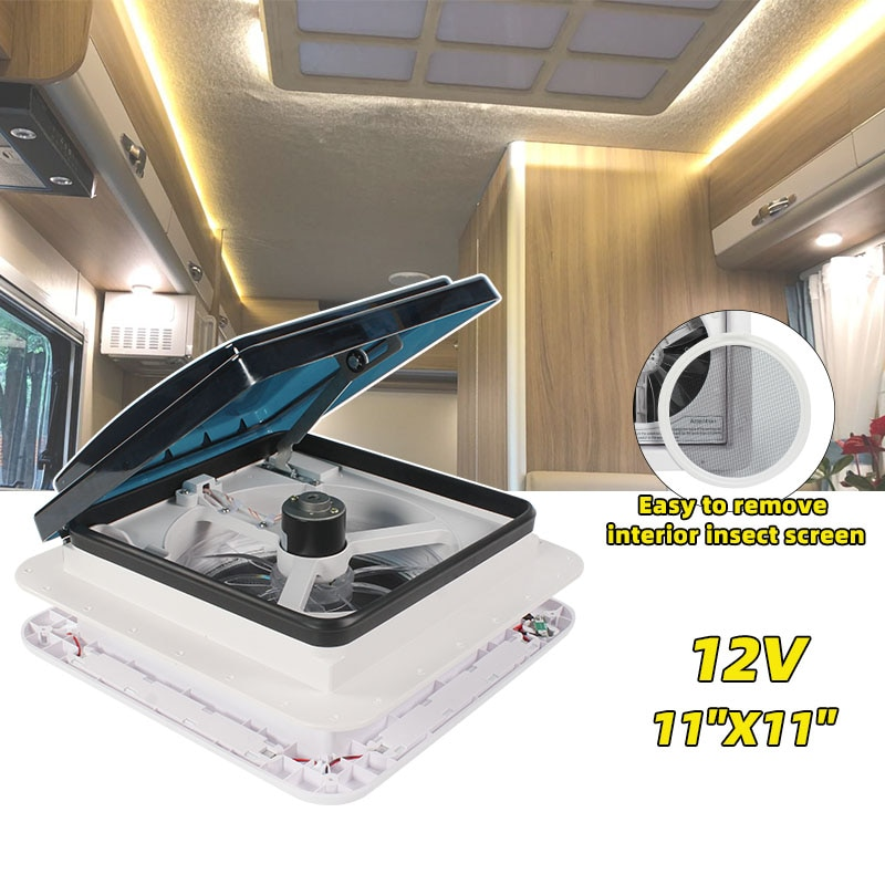 TYTXRV 11'' CE Caravan Accessories Motorhomes Vents 12V Fan With LED Camper RV Window Recreational Vehicle Manual Control enlarge