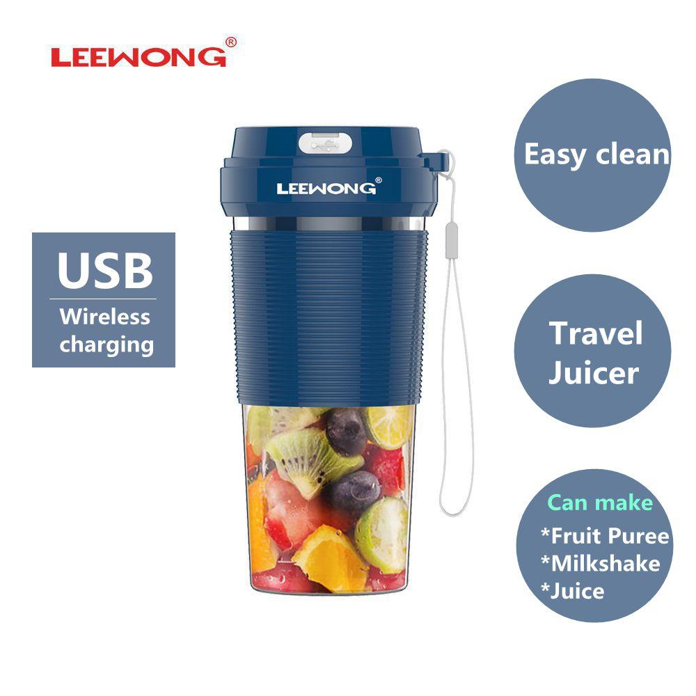 عصارة كهربائية من LEEWONG محمولة خلاط مطبخ للسفر USB عصير اللبن المخفوق 300 مللي باللون الأزرق