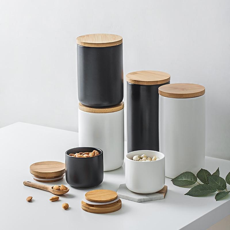 Скандинавские керамические герметичные бутылки для хранения, многофункциональные Деревянные крышки, кухонные приправы, банки для кофейны...