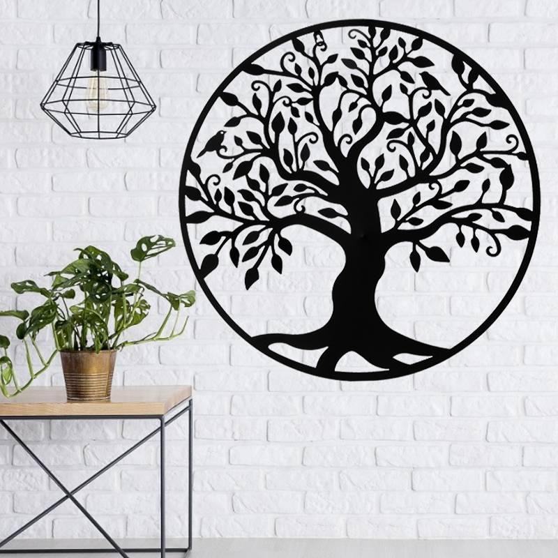 Árbol de la vida familiar de 99cm, árbol con cartel, silueta de pared, decoración colgante de pared de madera, hogar, oficina, dormitorio, decoración para sala de estar, escultura