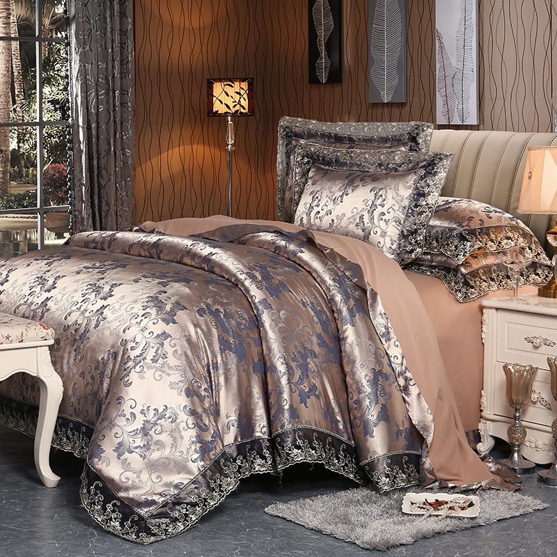 4 قطع الفضة البني الفاخرة الحرير القطن الدانتيل الفراش مجموعات مزدوجة الملكة الملك الحجم غطاء لحاف غطاء سرير مجموعة سادات