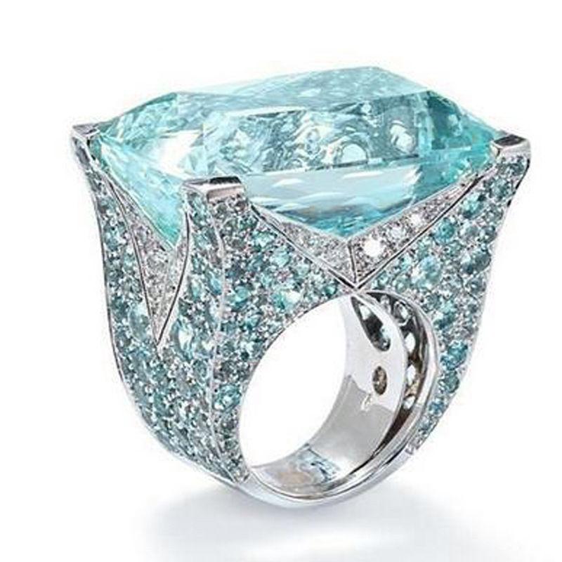 Женское Обручальное кольцо с голубым камнем, серебряное ювелирное изделие с огранкой принцессы, со стразами, для подарка на день рождения
