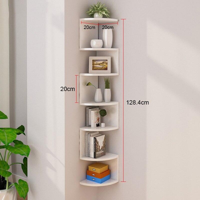 Купить с кэшбэком Wall Mounted Shelves 7Tier Rectangle Floating Shelves Wall Mounted Storage Shelf Rustic Wood Decorative Rack for Kitchen Bedroom