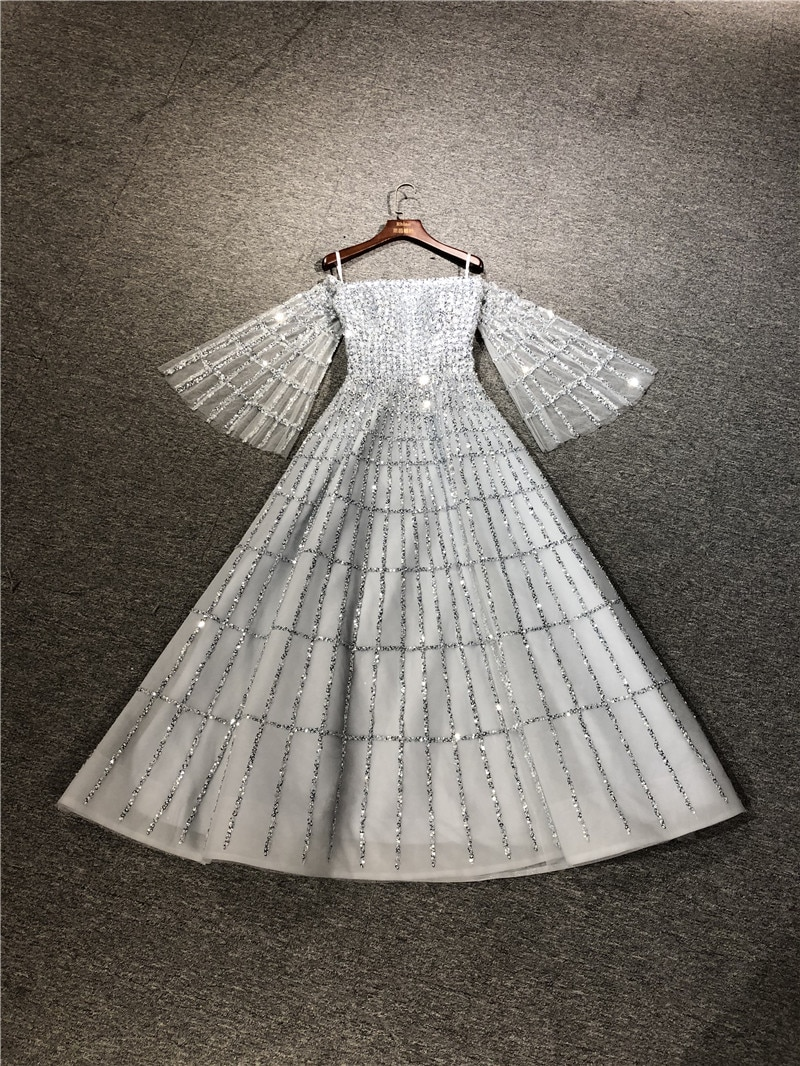 2021 High Quality Customized Real Pictures Silver Gray Long Sleeve Heavy Bead A-line Floor Length Evening Party Prom Dance Dress