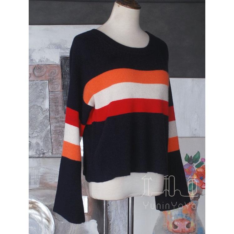 YUNINYOYO fashionable  red white orange three color wide stripe wide sleeve high waist short 100% cashmere women winter sweater enlarge