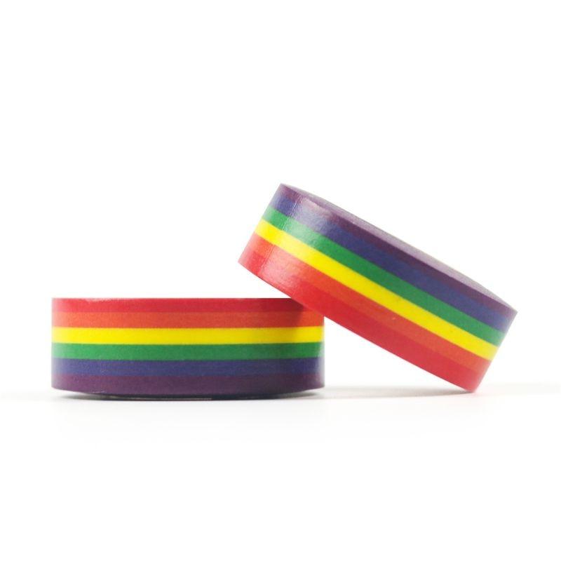 1PC Rainbow Washi taśmy szkolne papiernicze taśmy materiały biurowe 15mm