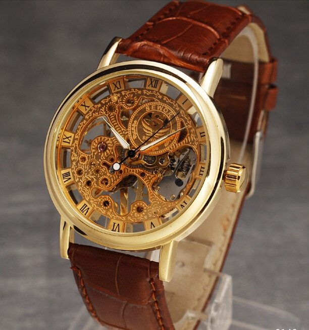 fashion steampunk wristwatch womens Watches golden hand wind movement Skeleton Leather Mens Luxury Mechanical 3 color enlarge