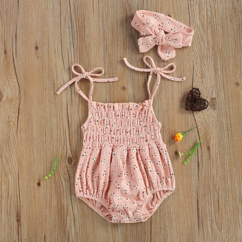 Infant Baby Girls 2 Pcs Outfits Suits, Sleeveless Floral Printed Romper + Bowknot Headband Summer 20