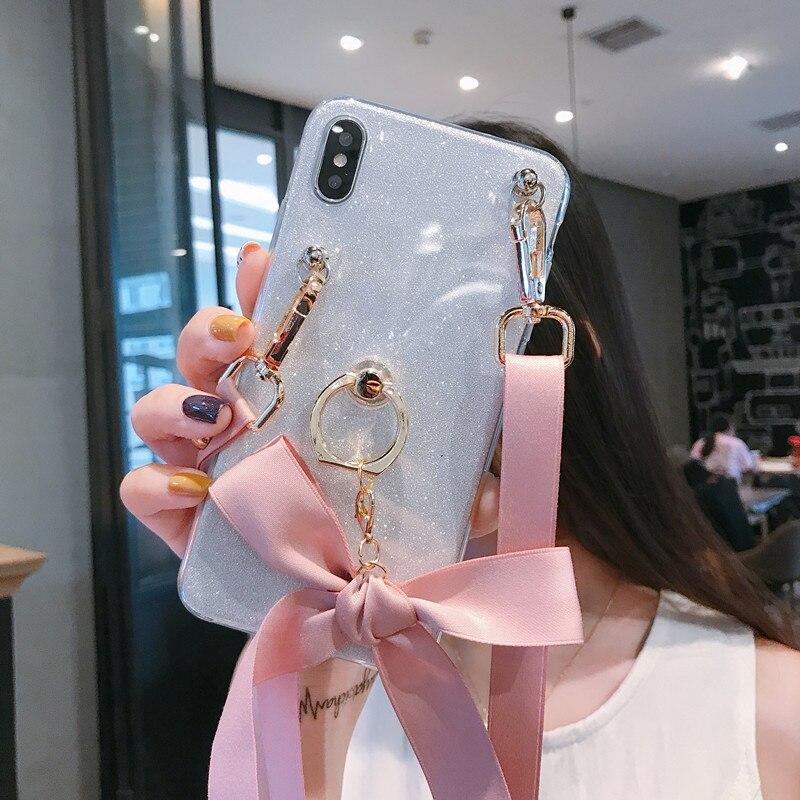Brillo de la correa de muñeca de casos para Huawei Nova 5 5i 4 3 2 2i 2S Honor Magic Nota 8 jugar V20 V10 V8 amigo 20 10 9 Lite Pro
