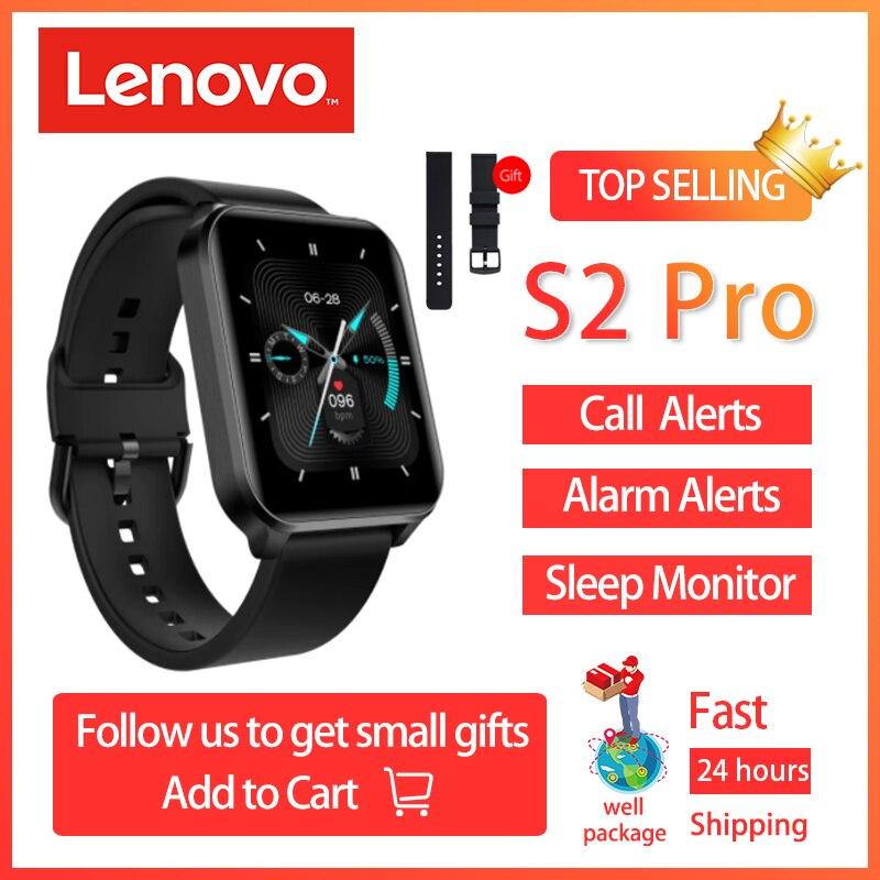2021 Lenovo S2 Pro Smartwatch 1.69'' HD Screen Temperature Waterproof Fitness Heart Rate Monitor Sleep Monitoring Multi Language