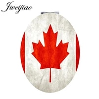youhaken maple leaf plant folding oval pu portable leather mirror canada flag design decoration mini hand mirror for girls qf397