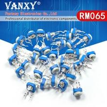 Recortador de potenciómetro de resistencia variable, RM065, RM-065, 100, 200, 500, 1K, 2K, 5K, 10K, 20K, 50K, 100K, 200K, 1M, ohm, 50 Uds.